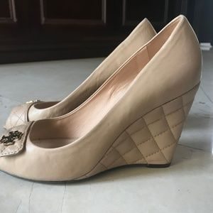 14d514f24caeb9 Tory Burch Shoes - Tory Burch Peep Toe Wedge Pumps Leila Quilted